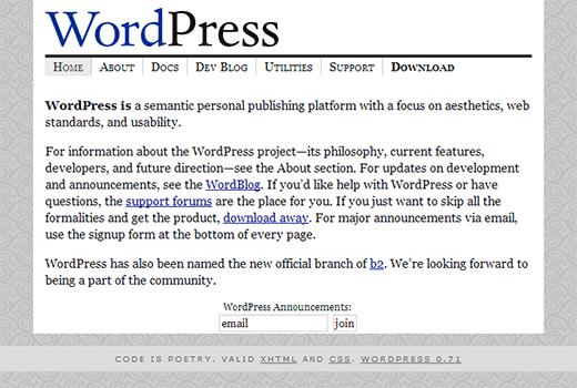 Como comenzó WordPress 0