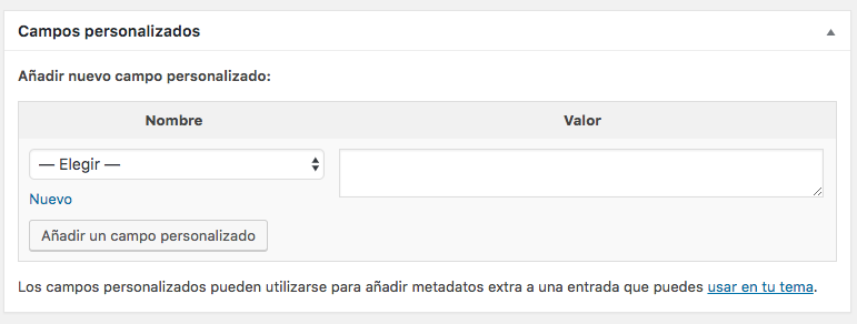 Usando Custom Fields con Meta Box 0