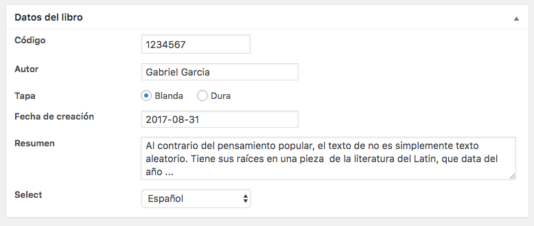 Usando Custom Fields con Meta Box 2