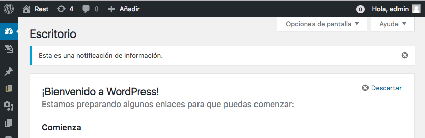 Usando las notificaciones en el admin de WordPress 0