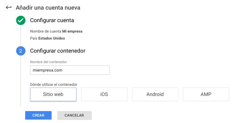 Agregar cuenta Google tag manager