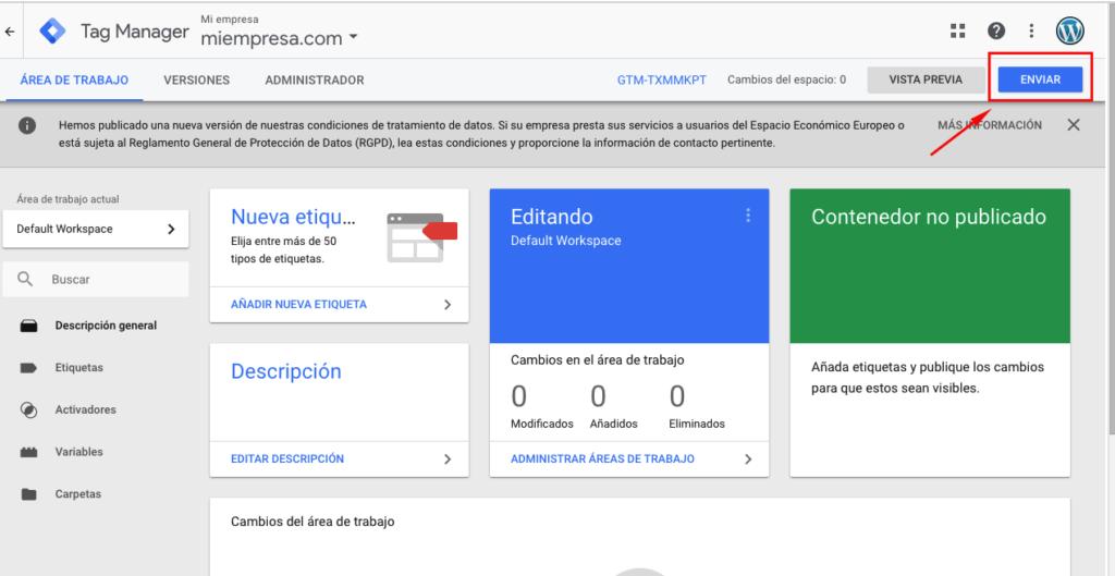 Publicar Google tag manager