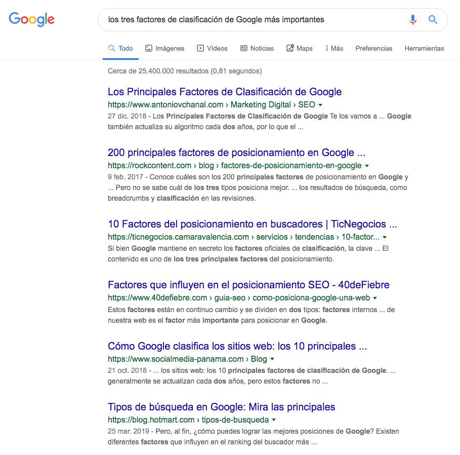 Clasificacion SEO Google