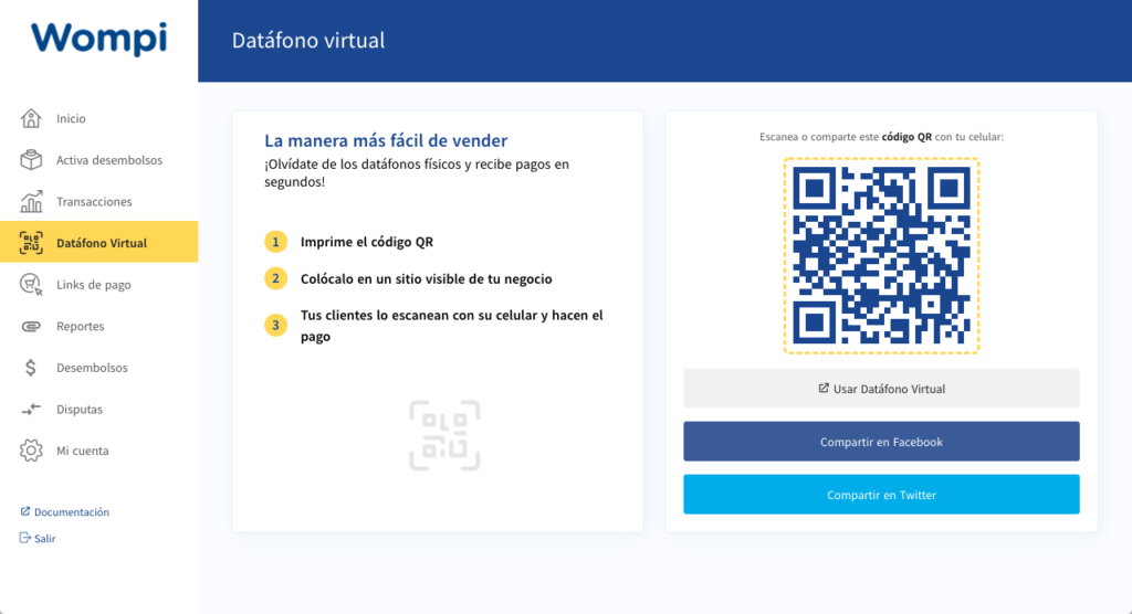 Datafono virtual Wompi