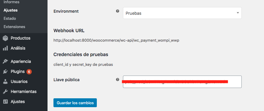 Llave publica WordPress Wompi