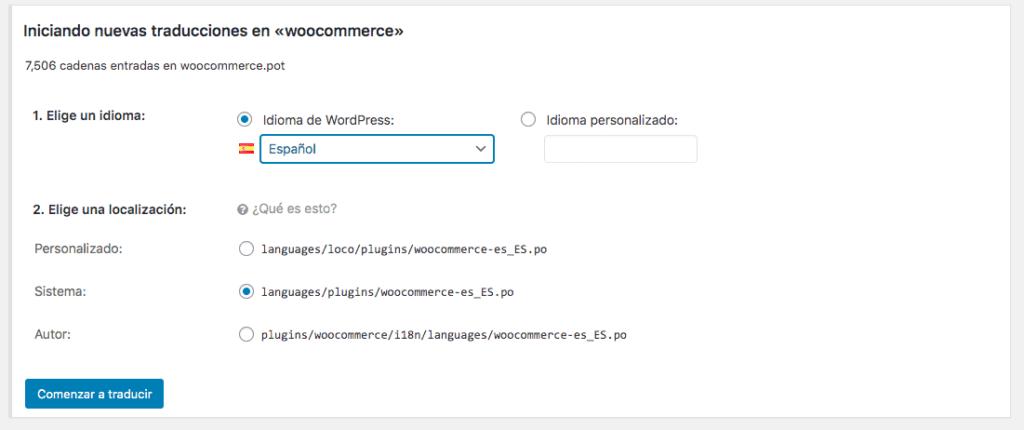 Generar traducción WooCommerce